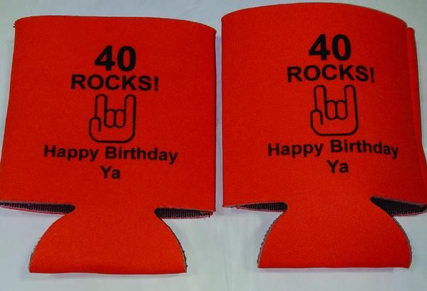 40 rocks 40th Birthday party funny favors can coolers 1118876084