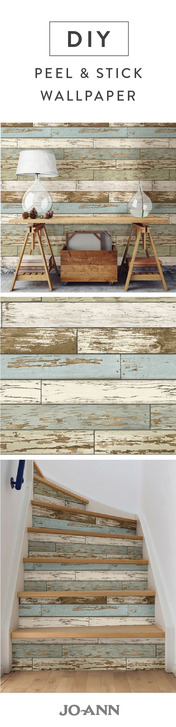 Easily add the look of rustic charm into your home with this distressed wood peel and stick wallpaper. We particularly love the idea of adding it to your stairs for a pop of personality and color.