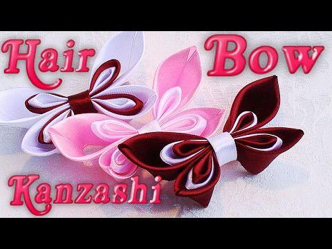 DIY Kanzashi hair bow, Ribbon hair bow, how to make, tutorial - YouTube