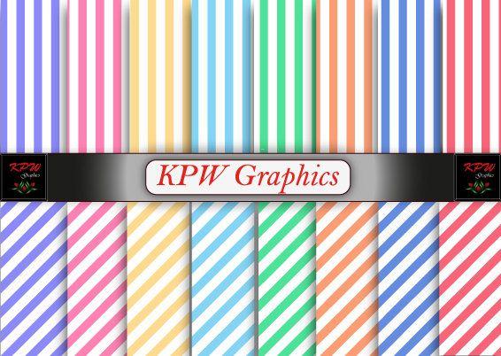 Rainbow Pastel Stripes Digital Printable Scrapbook by KPWgraphics