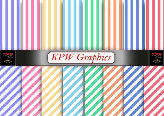 Rainbow Pastel Stripes Digital Printable Scrapbook by KPWgraphics