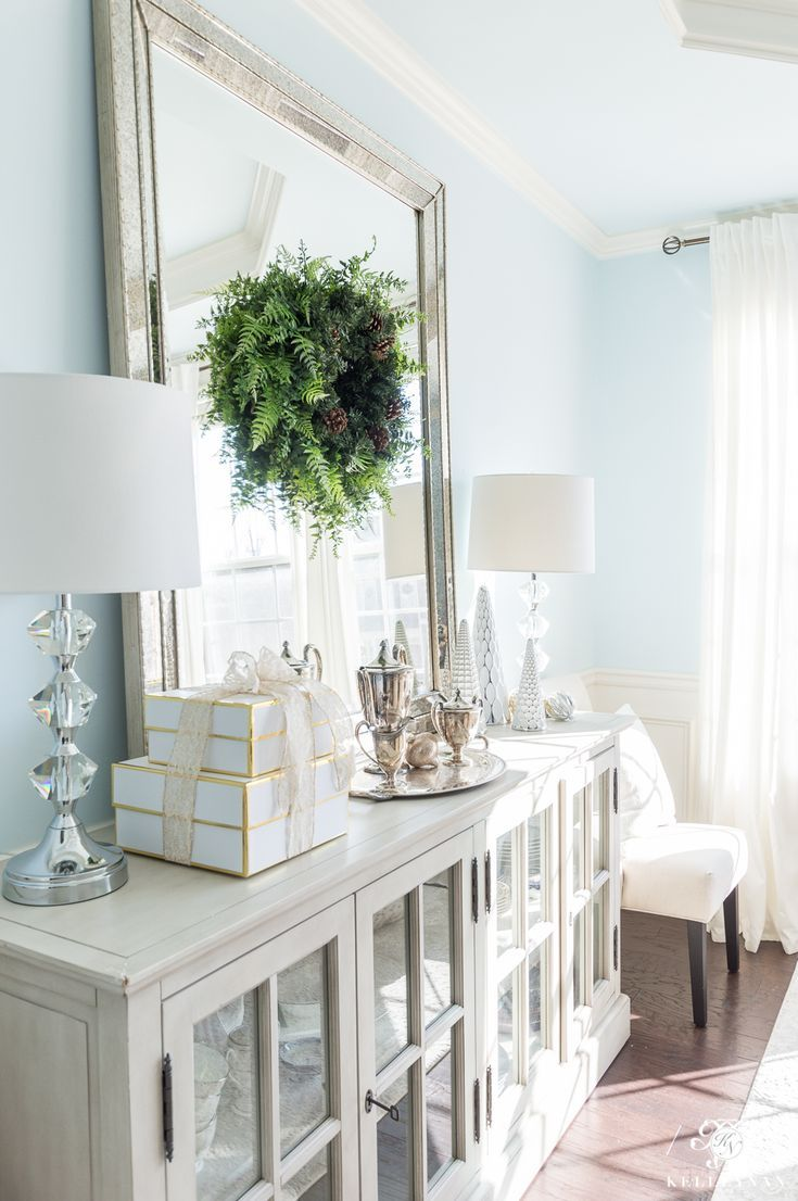 Prime Elegant Dining Room Buffet With Christmas Decor And Leaning Download Free Architecture Designs Remcamadebymaigaardcom