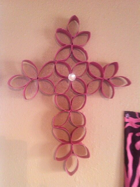Pink toilet paper roll cross we made