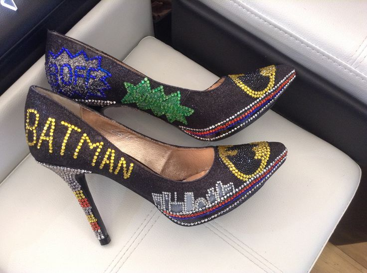 Hand decorated Batman Heels Size 40 only – Accents of Elegance