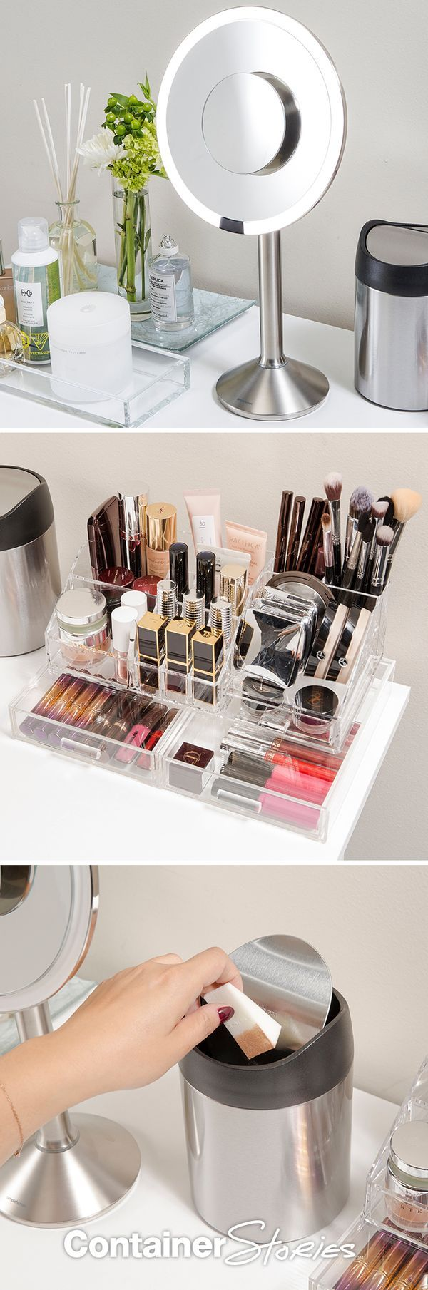 EVERYTHING IN ITS PLACE Acrylic makeup organizers are your friends, especially ones with compartments that allow you to separate your makeup tools by category: brushes, lipsticks, eyeliners, etc. This allows you to see everything in clear view so you know exactly where to find your favorite blush without rummaging through one large disorganized drawer.