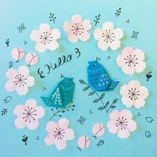 そろそろですかねー? Spring has come ? • • #origami #illustration #papercraft #paperflower #birds #spring #cherryblossom #nanatakahashi #おりがみ #イラスト #ペーパークラフト #お花 #小鳥 #春 #さくら #ボツになった せっかくなんで投稿する #たかはしなな