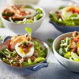 Franse linzensalade met zachtgekookt ei
