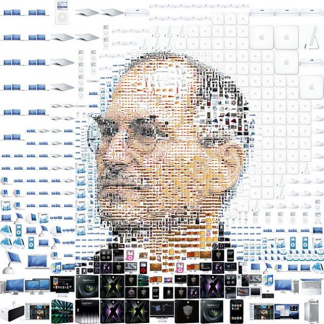 Portrait of Steve Jobs made out of Apple's product photos and icons...