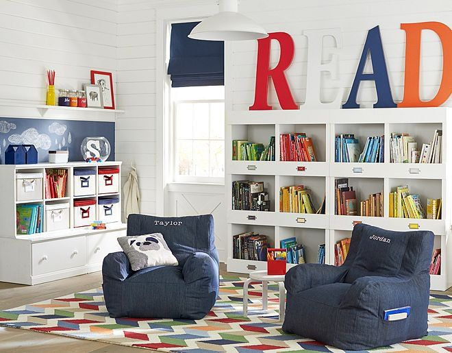 Pin for Later: The Best Reading Nooks For Kids and Their Books A Playroom Reading Space This ultraorganized playroom features its own cozy reading area with Pottery Barn Kids's bean chair ($149), that features book storage on it's sides.