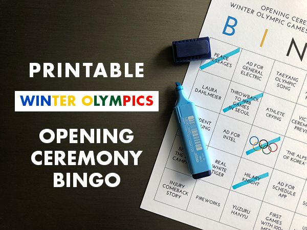 Printable Winter Olympics 2018 Opening Ceremonies Bringo for Families | Winter Olympics Activities for Kids | Free Olympics Fun for Families