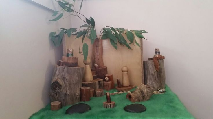 Home made wooden blocks and fallen tree branches
