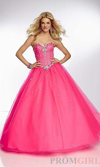 Mori Lee Strapless Full Skirt Ball Gown at PromGirl.com