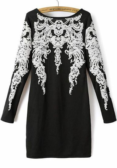 Black Long Sleeve Vintage Floral Slim Dress