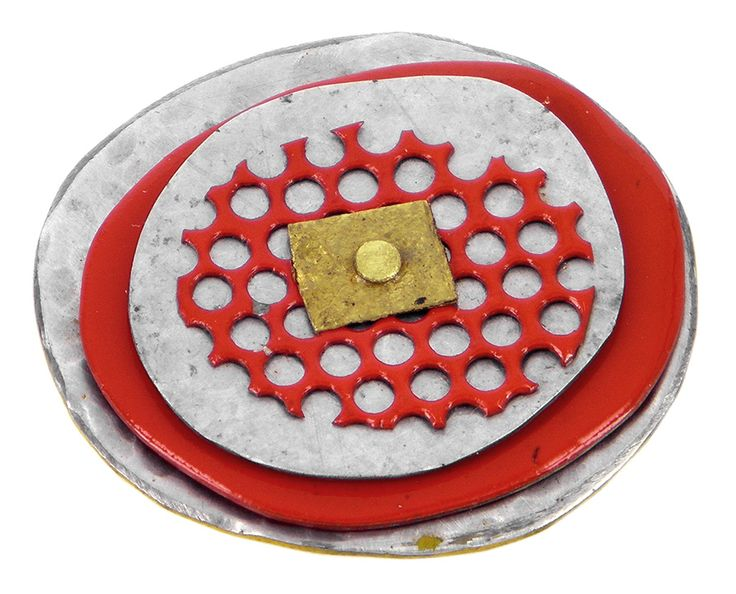 Oval with fine mesh tin lapel pin or brooch
