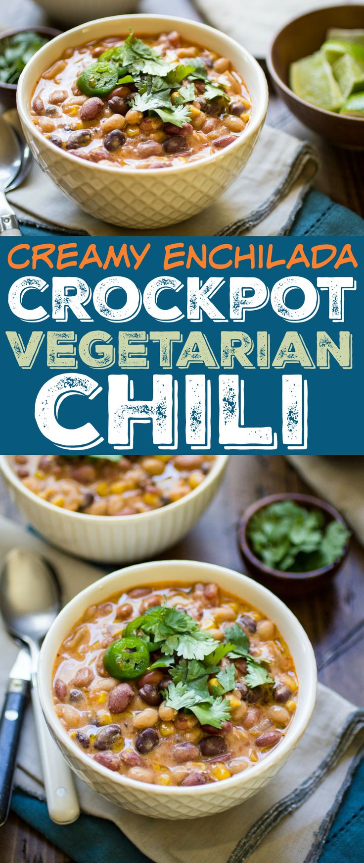 This creamy chili is the perfect vegetarian comfort food! Enchilada sauce and chipotle peppers give it a bold, savory flavor. Made entirely in the slow cooker, this smoky bean chili is as easy as it is delicious.