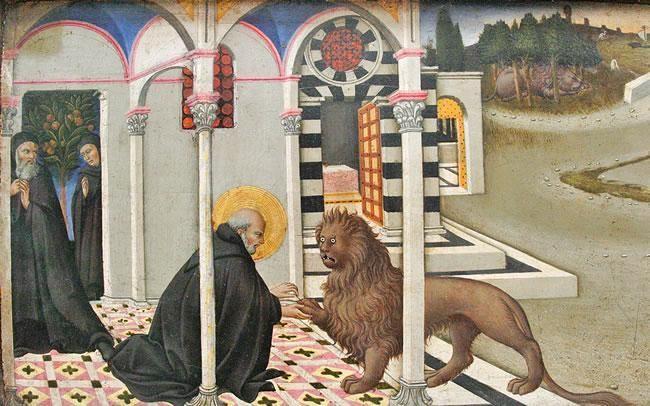 Sano di Pietro, San Girolamo e il leone, Paris, Louvre