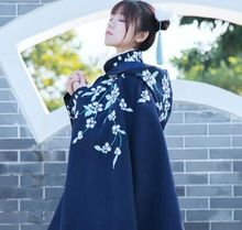 1 st Vintage Stijl Meisjes Bloemen Geborduurde Mantel Lolita Hooded Cape Winter Uitloper(China)