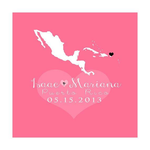 Any Map Art Print 8x10 Personalized Gift,  Puerto Rico, Latin America, Honduras, Jamaica, Panama, Destination Wedding, Honeymoon Location