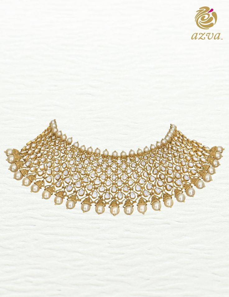 Azva polki diamond choker. Modern bridal jewellery #Goldjewellery #luxury #style
