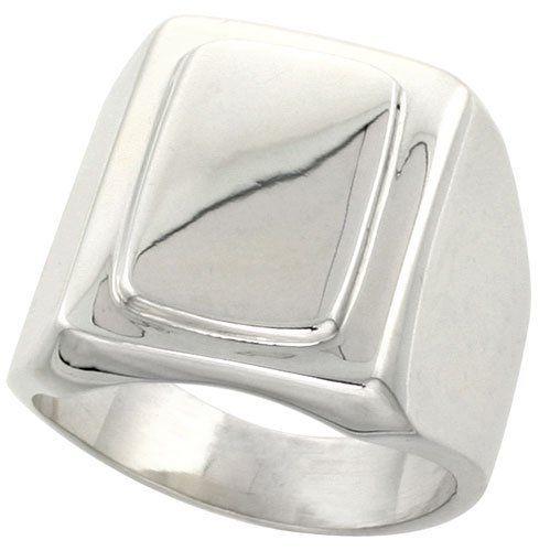 Sterling Silver Large Rectangular Signet Ring Handmade, sizes 6 - 13 Sabrina Silver. $86.49