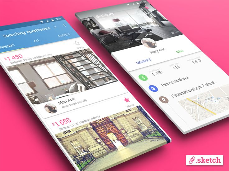 D O W N L O A D   L I N K  Hi, Dribbblers! We are plus8 team and going to post here some cool stuff.   First shot will be an app for apartments search, made in Material design style. Check out link...