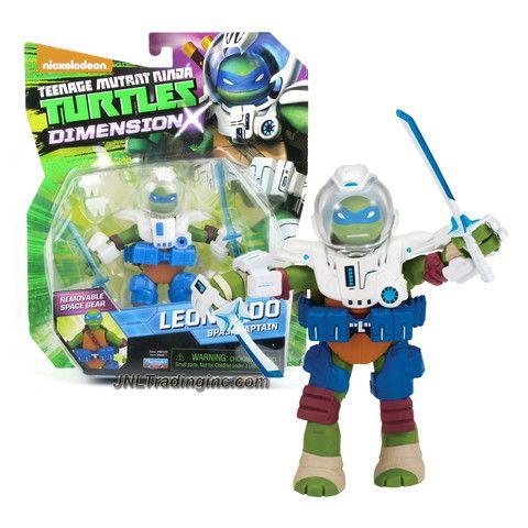 Playmates Year 2015 Teenage Mutant Ninja Turtles TMNT Dimension X Series 5 Inch Tall Action Figure - Space Captain LEONARDO with Space Suit and Pair of Katana Swords