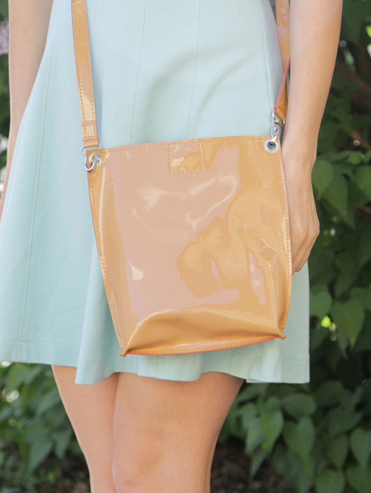 "Patent Leather Purse ""Monica Sandy"", Yellow Leather Crossbody, Small Leather Bag, Patent Leather Cross Body, Genuine Leather Bag - Бежевая лаковая кожаная сумка через плечо"