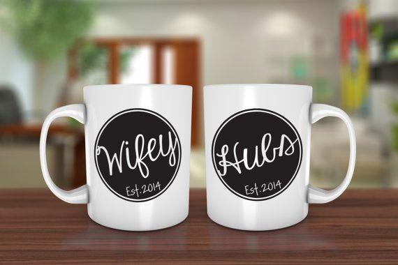 Personalized Coffee Mugs Wedding Gift : Custom Coffee MugWifey & Hubs Est. Customized Coffee Mugs Wedding ...