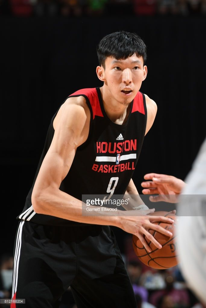 Zhou Qi #9 of the Houston Rockets handles the ball against the Phoenix Suns on July 10, 2017 at the Thomas & Mack Center in Las Vegas, Nevada.