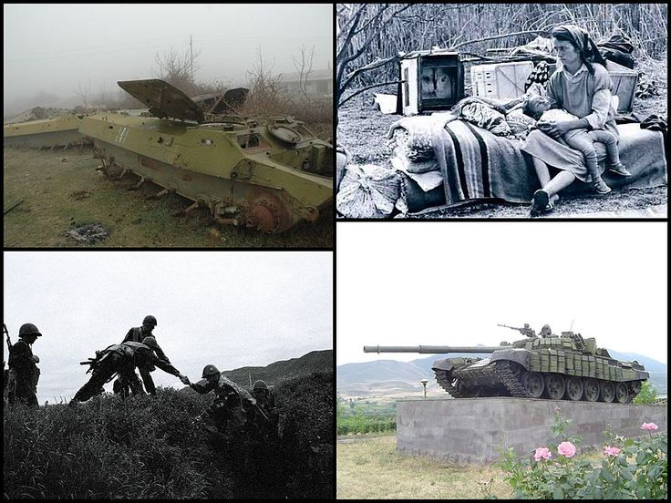 Nagorno-Karabakh War.  Clockwise from top: remnants of Azeri APCs; internally displaced Azerbaijanis from the Armenian-controlled territory; Armenian tank memorial at the outskirts of Stepanakert; NKR soldiers.
