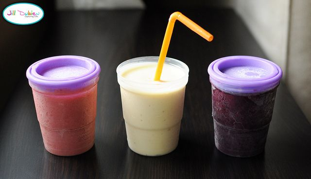 Make Ahead Smoothies - put into freezer jam jars and store in freezer.  In lunchbox, they'll defrost by lunchtime.