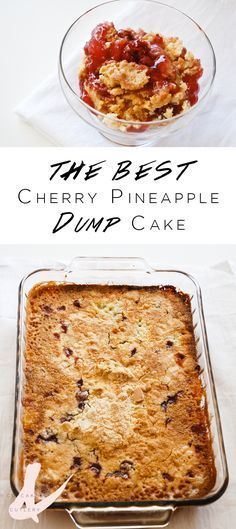 This is my FAVORITE dump cake recipe ever! It's super easy. The hardest part is putting it in the oven! The cherry and pineapple are perfect with the cake mix. This is the perfect dessert for a potluck!