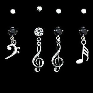 Belly button ring -bass clef and treble clef note
