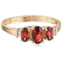 10k Yellow Gold January Birthstone 3-Stone Garnet with Diamond-Accent Ring, Size 8 $134.00 #AmazonCuratedCollection