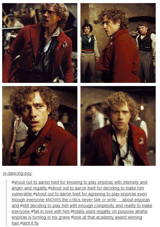 Shout out to Aaron Tveit for being the best Enjolras ever now where do I pin this
