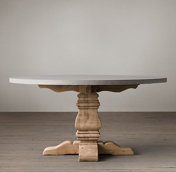 """Our table's smoothly honed thick concrete top with a softly weathered finish complements the natural beauty of solid reclaimed pine timbers ...(48""""; 60"""", 72"""")n  $2000+"""
