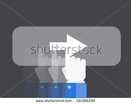 flat slide with hand background. by Mr. Aesthetics, via Shutterstock