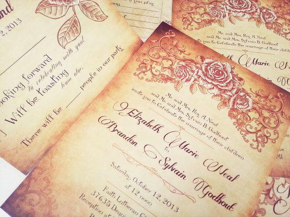 Gold wedding invitations vintage wedding invitation for 70 s wedding invitations