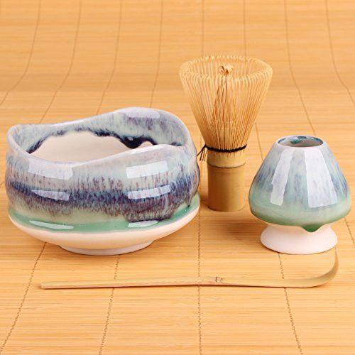 "Goodwei Premium Matcha Tea Set ""Sumi"" - Ceremonial Bowl Chawan, Whisk and Holder - Gift Bo (80)"
