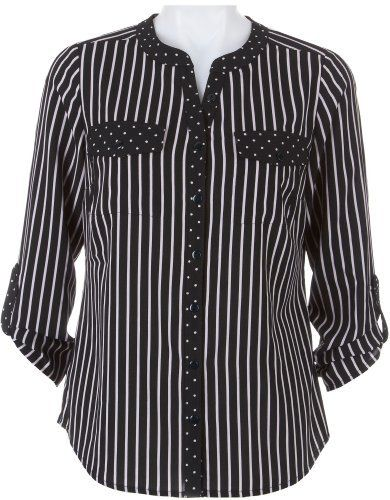 Petite Notations Petite Striped Button Front Top Notations. $29.99