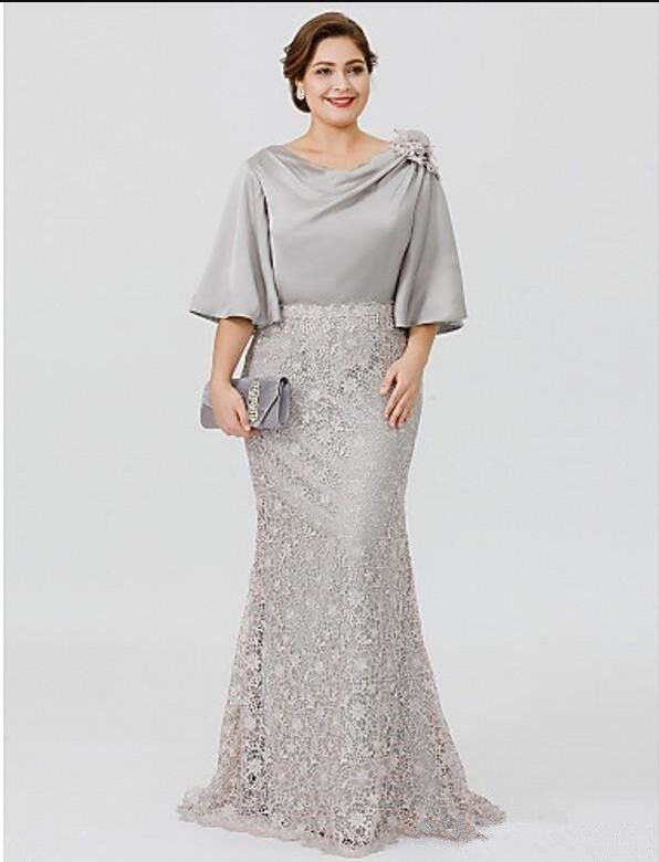 bf891f281495 Elegant Silve Lace Satin Mother of the Bride Dress Formal Evening Gown Plus  Size Satin Mother Lace