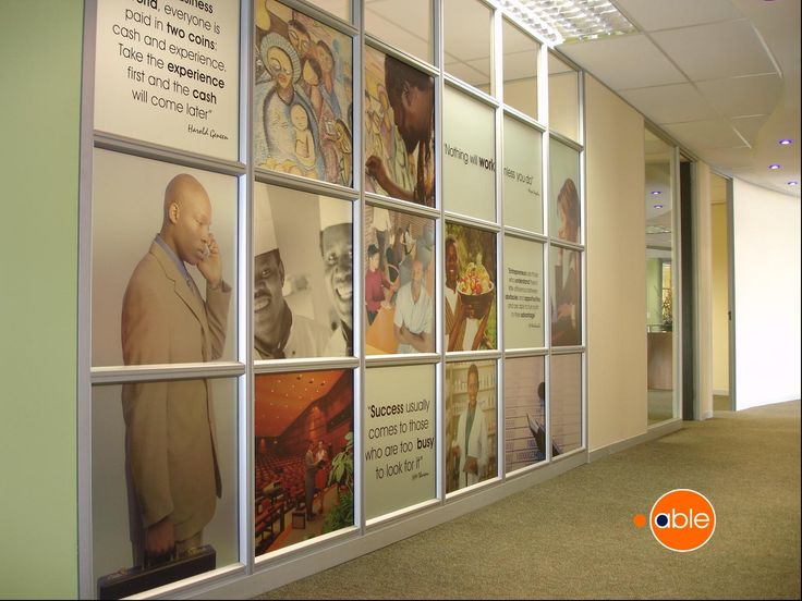 Sandblast vinyl inspiration wall printed on 50mm solid movable walling system. #officespace #interiordesign