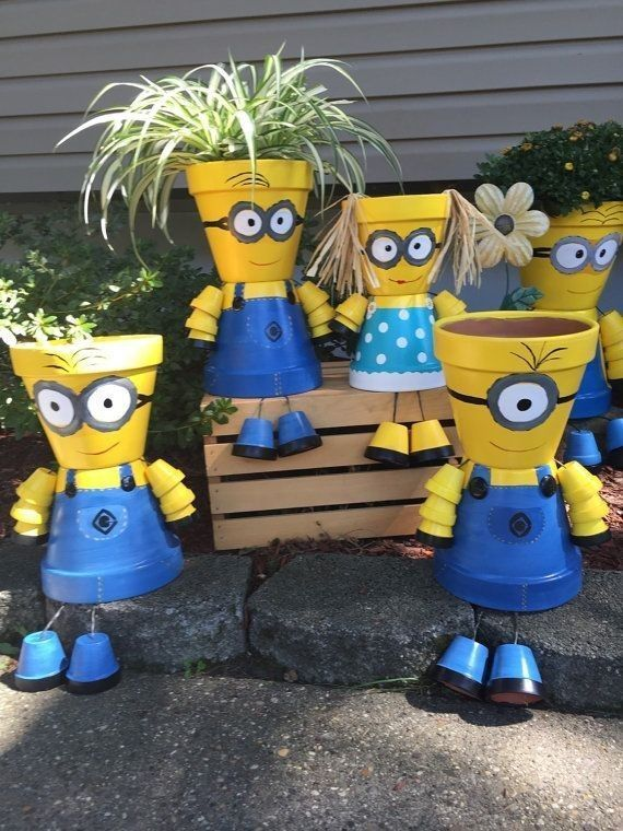 Minions flower pots.. kid would love this. | D.I.Y. gardening ideas