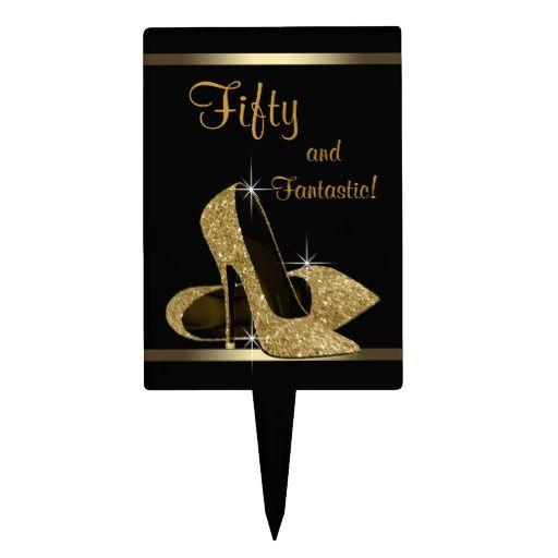 Black Gold High Heel Shoe Cake Topper Zazzle Com