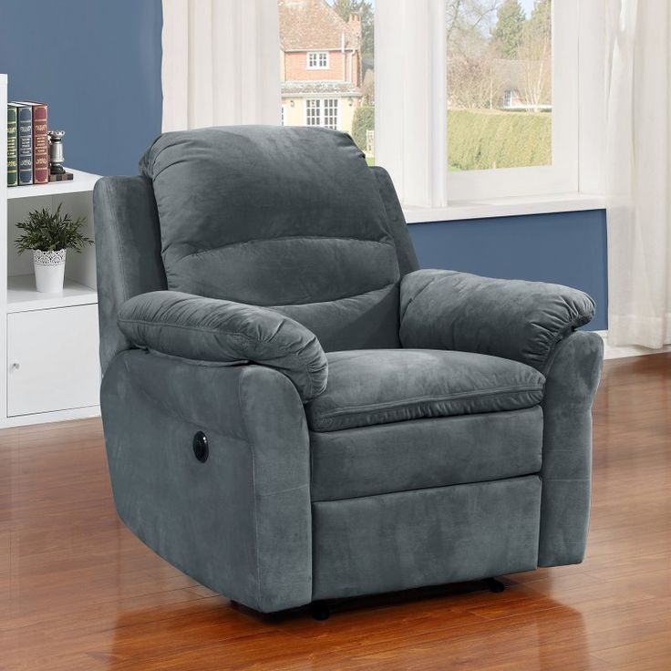 Christies Home Living Felix Collection Upholstered Electric Power Recliner Chair Dark Gray - FELIX-7023-8-PRC