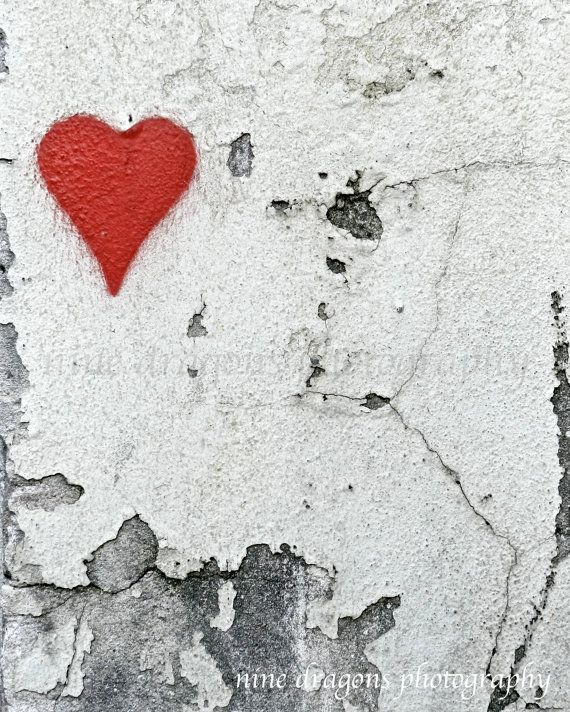 Rustic Home Decor. A deep red graffiti heart -- romantic urban wall decor perfect for the bedroom or propped on the front hall table to welcome guests with love. In vibrant red, white, black and shades of grey. Great addition to wall groupings. Additional sizes, canvas wraps and customization available below. More Street Photography & Graffiti Art: https://www.etsy.com/shop/ninedragons?section_id=10239105 Personalize it with your favorite quote, wedding date, anni...