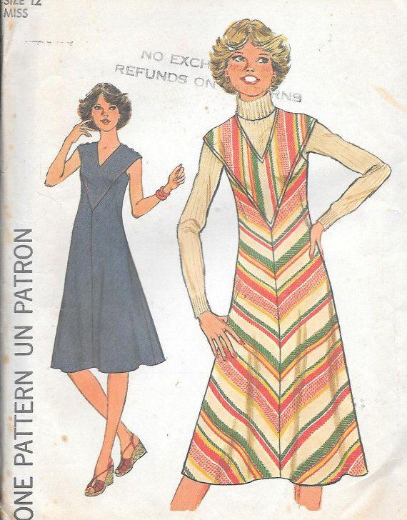 Vintage jaren 1970 eenvoud naaien patroon 8070 - missers Bias jurk of trui maat 12 buste 34 Onbesneden