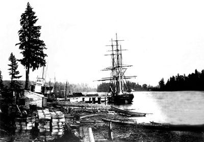View of sailing ship loading lumber, New Westminster, BC, c. 1863 (courtesy BC Archives and Records/B-06377).