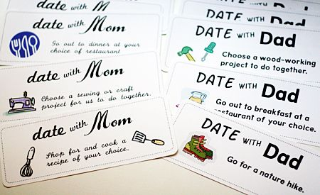 I don't share pins much on FB, but I thought this one was fantastic! Gift your child for Christmas a years worth of individual dates with mom then dad. She even has a link to print off her ideas and blank extras! Dan and I last night were discussing our intentions of spending more individual time with our kids and I love this idea!
