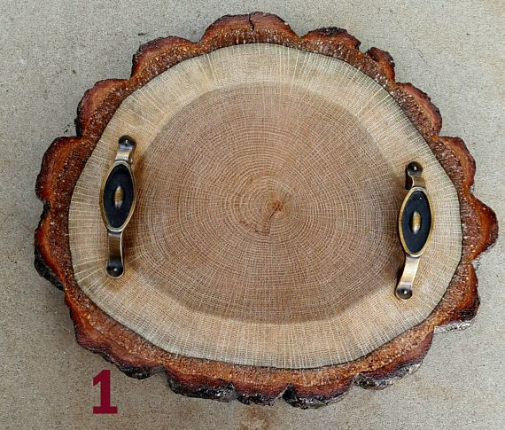 handmade oakwood servingtrays with metal handleserving